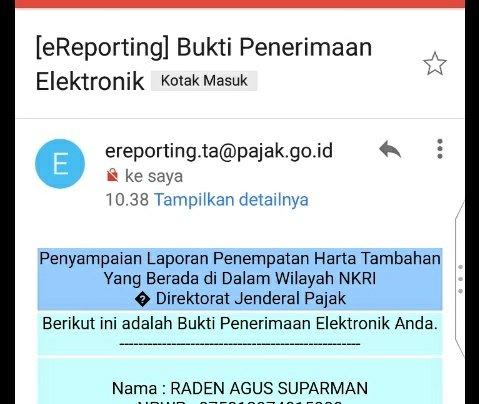 Contoh Bukti Penerimaan Elektronik Penyampaian Laporan Penempatan Harta Tambahan Yang Berada di Dalam Wilayah NKRI