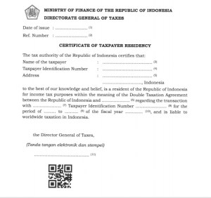 Certificate of taxpayer residency