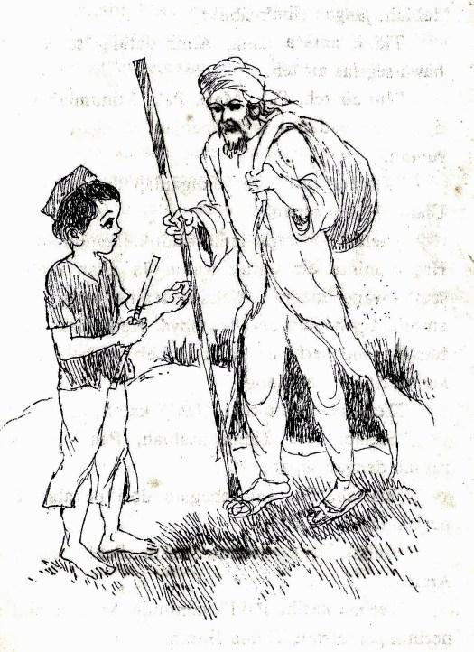 Hikayat Raja Arief Imam by Hidayat Said - Gambar ilustrasi orang tua menasehati cucunya agar selalu berhati-hati dalam melangkah