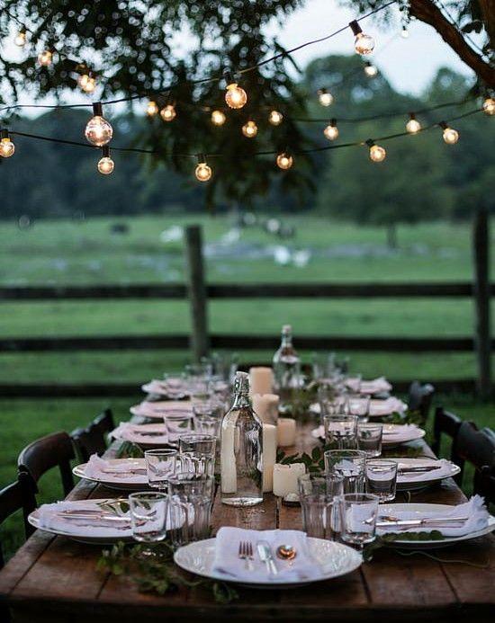 mesa rustica luces