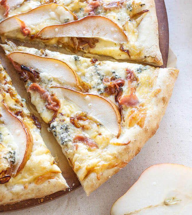pizza de pera y queso
