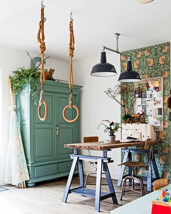 casa de estilo bohemio en color verde