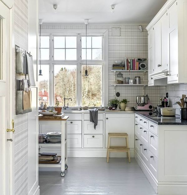 cocina con papel pintado
