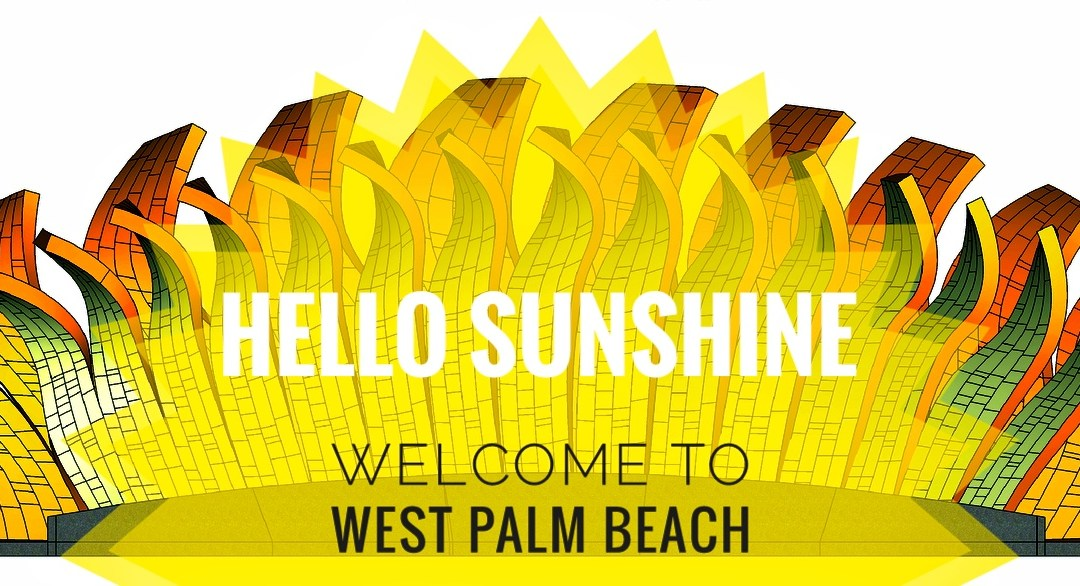"Hello Sunshine sculptures say ""Hello"" to visitors of West Palm Beach"