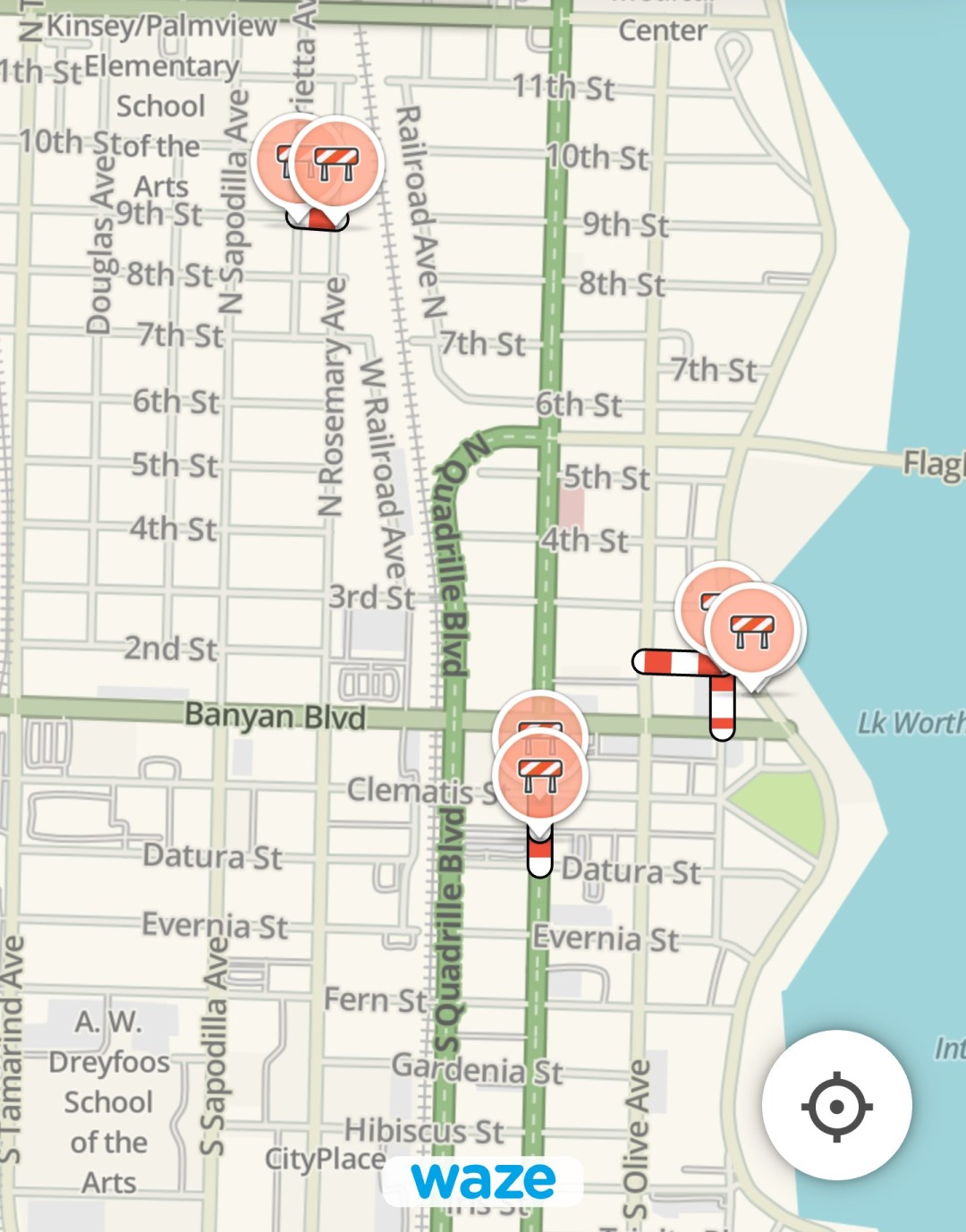Downtown road closures seen on Waze