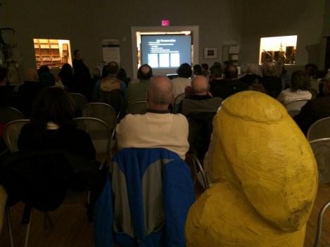 Captain Ahab of Ahab's Adventures at the Pecka Kucha Talks in Pittsfield Massachusetts 2016