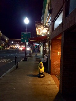 Captain Ahab of Ahab's Adventures outside The People's Pint in Greenfield Massachusetts 2015