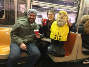 Captain Ahab of Ahab's Adventures making friends in the subway in NYC 2015