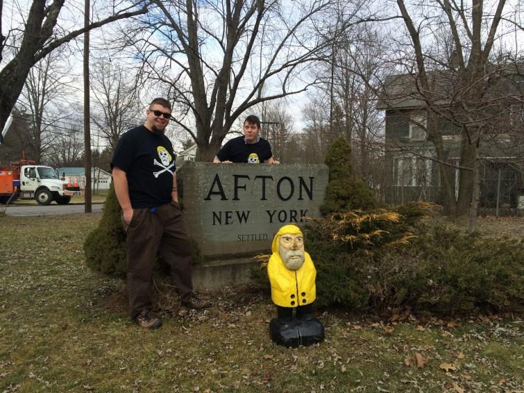 Captain Ahab of Ahab's Adventures always loves a good welcome sign Afton, New York 2016