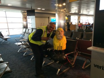 Captain Ahab of Ahab's Adventures making friends at the airport right before we left for St. John U.S. Virgin Islands 2016