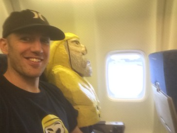 Captain Ahab of Ahab's Adventures in his seat on the plane for St. John U.S. Virgin Islands 2016
