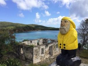 Captain Ahab of Ahab's Adventures looking at the ruins near Little Lameshur Bay on St. John U.S. Virgin Islands 2016
