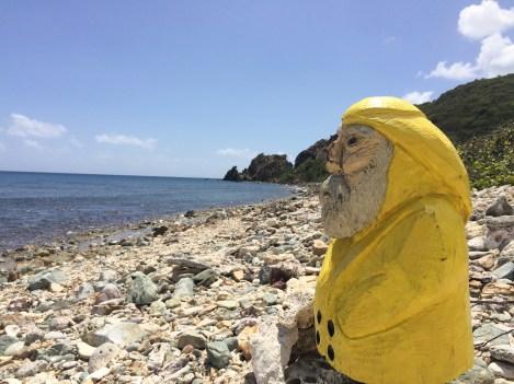 Captain Ahab of Ahab's Adventures visiting Europa Bay on St. John U.S. Virgin Islands 2016