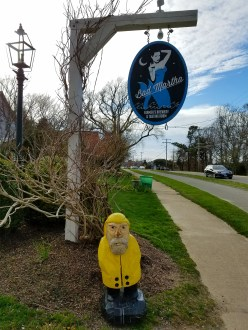 Captain Ahab of Ahab's Adventures outside Bad Martha's Brewery in Edgartown on Martha's Vineyard in 2016