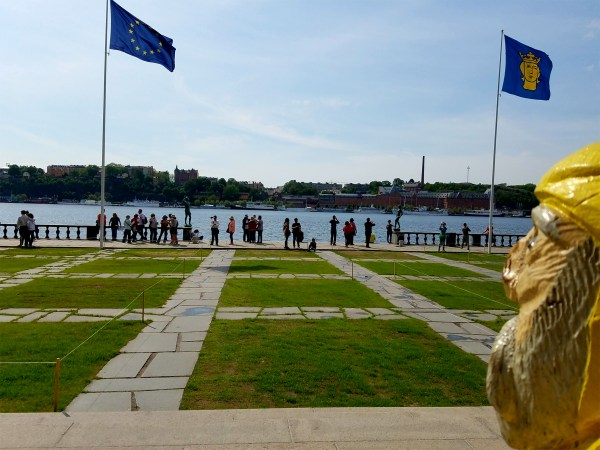 Captain Ahab of Ahab's Adventures visiting the grounds of City Hall in Stockholm Sweden 2016