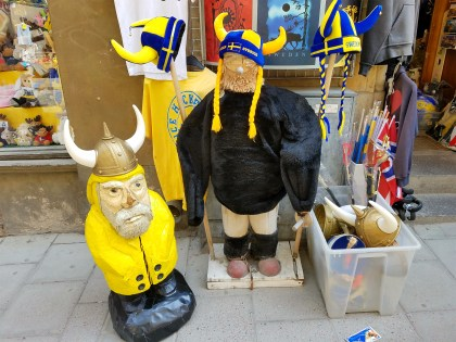 Captain Ahab of Ahab's Adventures making friends with vikings in Old Town in Stockholm Sweden 2016