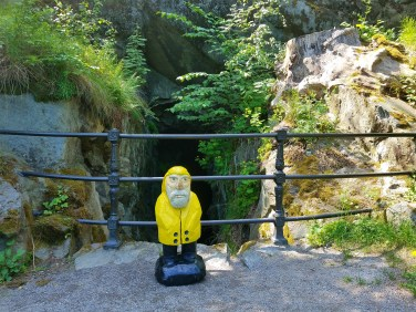 Captain Ahab of Ahab's Adventures looking through The Grotto inside Hagaparken in Stockholm Sweden 2016