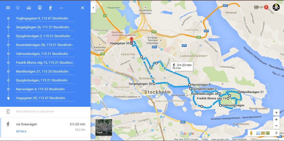 Captain Ahab of Ahab's Adventures route of adventure today ... 10 miles through Stockholm Sweden 2016