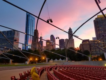 Captain Ahab of Ahab's Adventures enjoying the Jay Pritzker Pavilion in Millennium Park in Chicago Illinois 2016