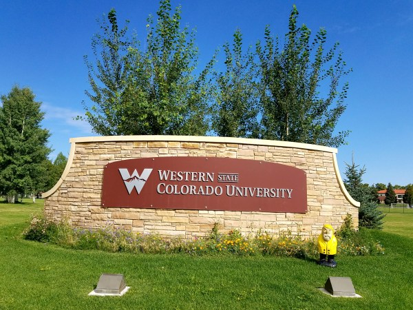 Captain Ahab of Ahab's Adventures exploring the campus at Western State Colorado University in Gunnison Colorado 2016