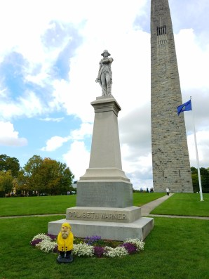 Captain Ahab of Ahab's Adventures outside the Bennington Battle Monument Vermont 2016
