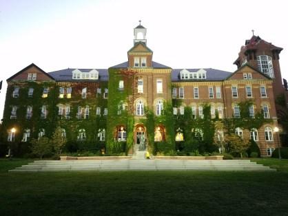 Captain Ahab of Ahab's Adventures exploring campus at Saint Anselm College New Hampshire 2016