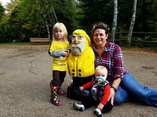 Captain Ahab of Ahab's Adventures making friends at Lower Tahquamenon Falls in the Upper Peninsula Michigan 2016
