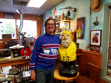 Captain Ahab of Ahab's Adventures relaxing at the Dead River Coffee Roasters in Marquette Michigan 2016
