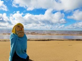 Captain Ahab of Ahab's Adventures skinny dipping in Lake Michigan Michigan 2016
