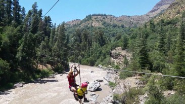 Captain Ahab of Ahab's Adventures zip lining at Cascada de Las Animas campus in San Alfonso Chile 2017