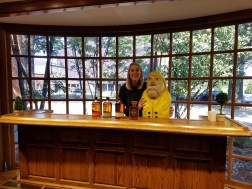 Captain Ahab of Ahab's Adventures making friends on the distillery tour at Bulleit in Louisville Kentucky 2017