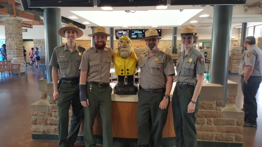 Captain Ahab of Ahab's Adventures making friends at Mammoth Cave National Park 2017