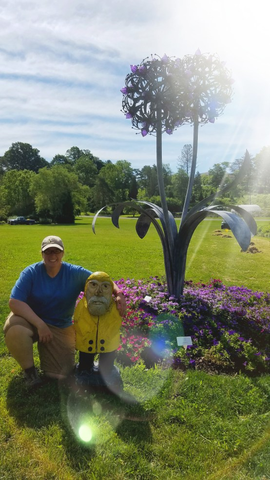 Captain Ahab of Ahab's Adventures making new friends in the Cornell Botanic Gardens 2019