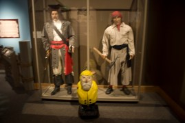Captain Ahab of Ahab's Adventures visiting Blackbeard at his exhibit in the North Carolina Museum of History 2010
