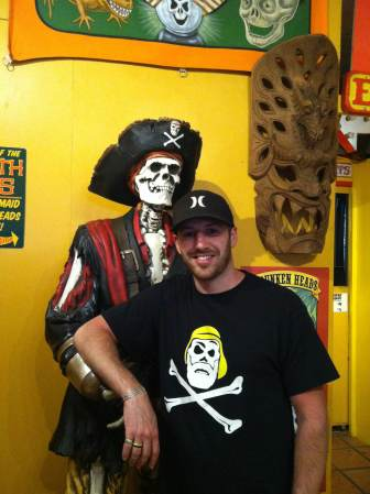 Geeg Wiles of Ahab's Adventures hanging out with an Old Pirate Pal in Austin Texas 2013