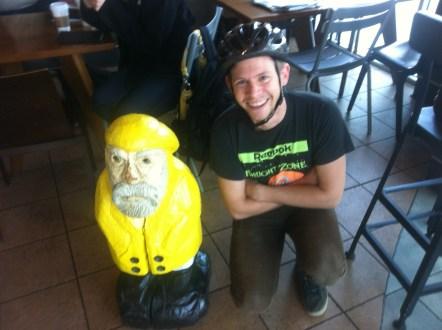 Captain Ahab of Ahab's Adventures having coffee in Austin Texas 2013