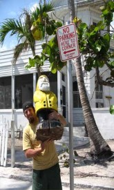 Captain Ahab of Ahab's Adventures at the Southern Most No Parking Here to Corner Sign USA 2006