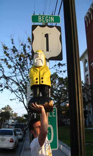 Captain Ahab of Ahab's Adventures at the Southern Most Starting Point of Route 1 USA 2006