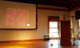 Captain Ahab of Ahab's Adventures inside Atlantic Hall getting ready to speak in Cape Porpoise Maine 2015