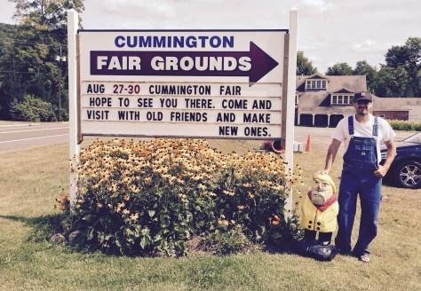 Captain Ahab of Ahab's Adventures visiting the Cummington Fair so Geeg could have an excuse to wear overalls in Cummington Massachusetts 2015