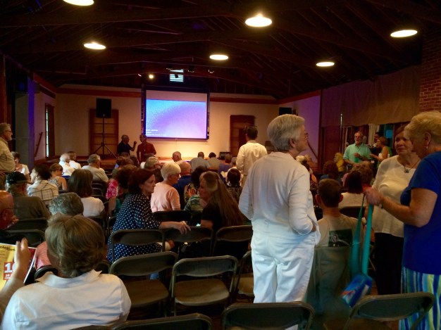 Captain Ahab of Ahab's Adventures inside Atlantic Hall right before we are about to speak in Cape Porpoise Maine 2015