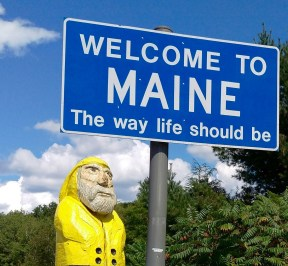 Captain Ahab of Ahab's Adventures entering Maine hours before our speaking gig at Atlantic Hall in Cape Porpoise 2015