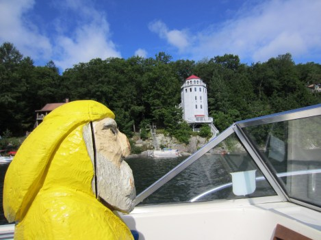 Captain Ahab of Ahab's Adventures boating on Lake St. Catherine in Vermont 2013