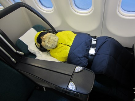 Captain Ahab of Ahab's Adventures flying first class to Ireland 2014 First Class
