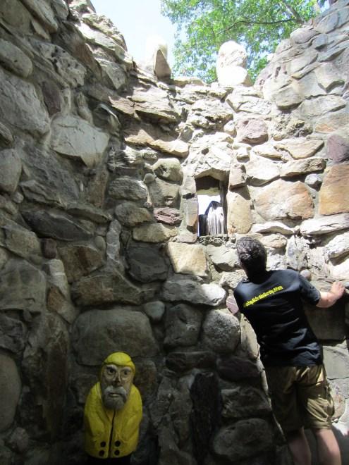 Captain Ahab of Ahab's Adventures inside St. Oran Bell Tower at Columcille Megalith Park in Pennsylvania 2015