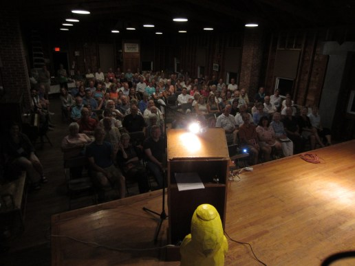 Captain Ahab of Ahab's Adventures inside Atlantic Hall speaking to a packed room of new fans in Cape Porpoise Maine 2015