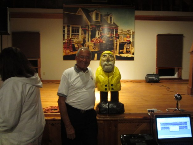 Captain Ahab of Ahab's Adventures inside Atlantic Hall making new friends after our speaking gig in Cape Porpoise Maine 2015