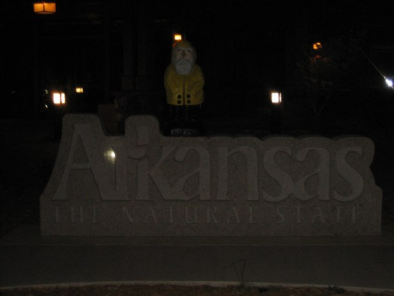 Captain Ahab of Ahab's Adventures entering Arkansas on his Cross Country Road Trip of 2006