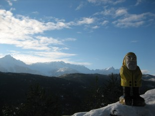 Captain Ahab of Ahab's Adventures looking out onto the Tantalus Range near Whistler Mountain British Columbia Canada 2006