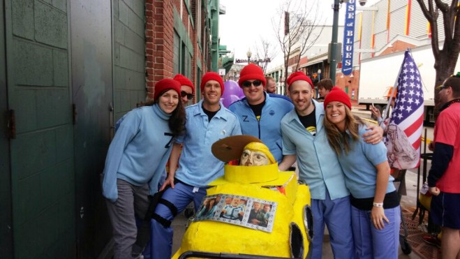 Captain Ahab of Ahab's Adventures with Team Zissou at the Boston Urban Iditarod 2015